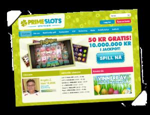 Prime Slots hovedside meny-bilde